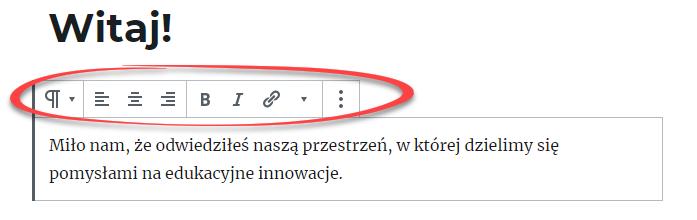 pasek narzędzi w edytorze tekstowym WordPress