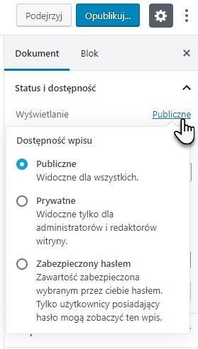 lista statusów dostępności opublikowanego wpisu z podziałem na Publiczne, Prywatne, Zabezpieczony hasłem