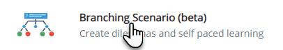 ikona przedstawiająca drzewko decyzyjne, a obok napis Branching Scenario (beta)