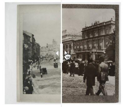 dwa obrazy podzielone poprzeczną linią przedstawiające pieszych i miejską zabudowę