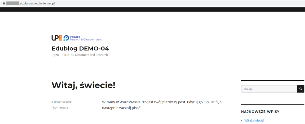 strona startowa aplikacji Edublog