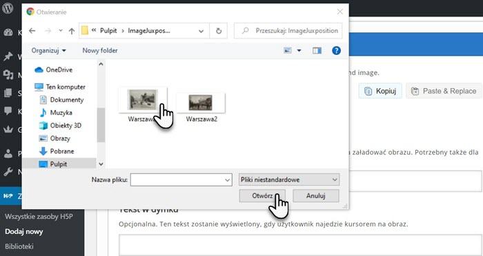 pulpit komputera i dwie grafiki znajdujące się w folderze