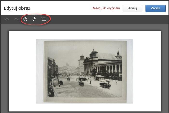 pasek narzędzi w edytorze obrazu i grafika przedstawiająca miejską ulicę i duży budynek