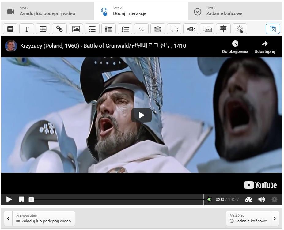kadr z filmu Krzyżacy, w którym pojawiają się twarze dwóch mężczyzn