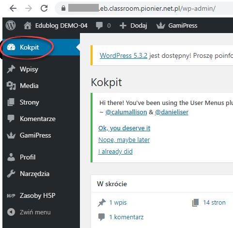 widok paska narzędzi WordPress ze wskazaniem na opcje Kokpit