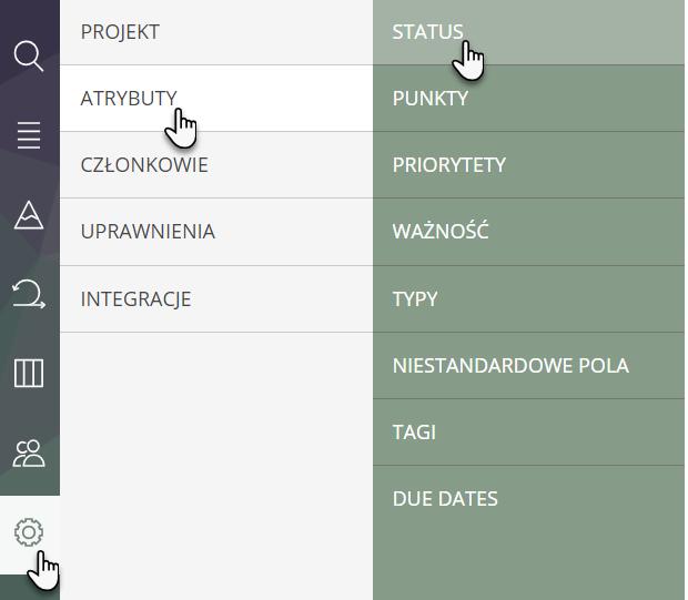 zakładka ustawień ze wskazanym przyciskiem Atrybuty i przyciskiem Status