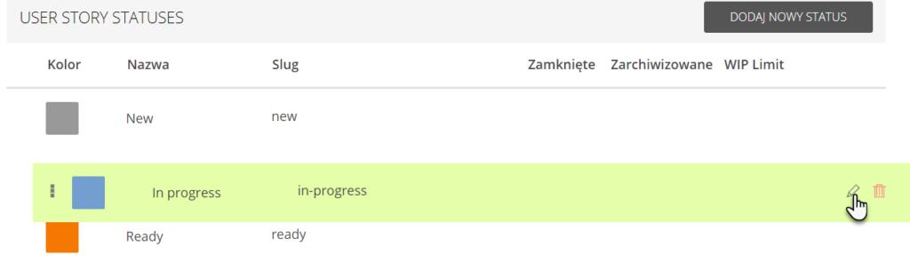 zaznaczony status In progress w zakładce User story statuses i wskazana ikona ołówka pozwalająca na zmianę nazwy statusu zadania