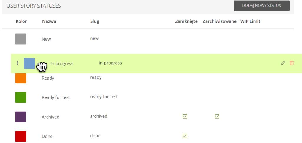 zakładka User story statuses z przyciskiem Dodaj nowy status z zaznaczonym statusem In progress