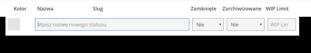 pasek edycji nowego statusu zadania złożony z paska, w którym wpisuje się jego nazwę i pól określających aktualny stan zadania z podziałem na zamknięte i zarchiwizowane