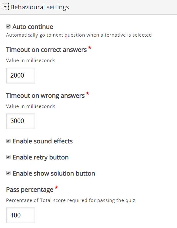 zakładka Behavioural settings z kilkoma opcjami ustawienia quizu