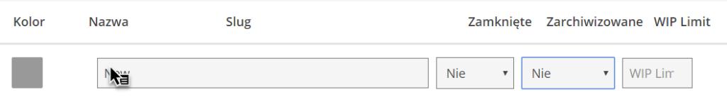 pasek, w którym wpisuje się nową nazwę statusu zadania