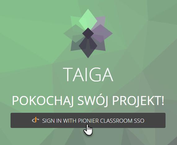 logo aplikacji Projekt, tekst Pokochaj swój projekt i pasek logowania z tekstem Sign in with Pionier Classroom SSO
