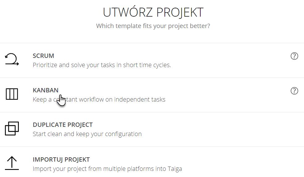zakładka Utwórz projekt z opcjami Scrum, Kanban, Duplicate Project, Importuj Projekt