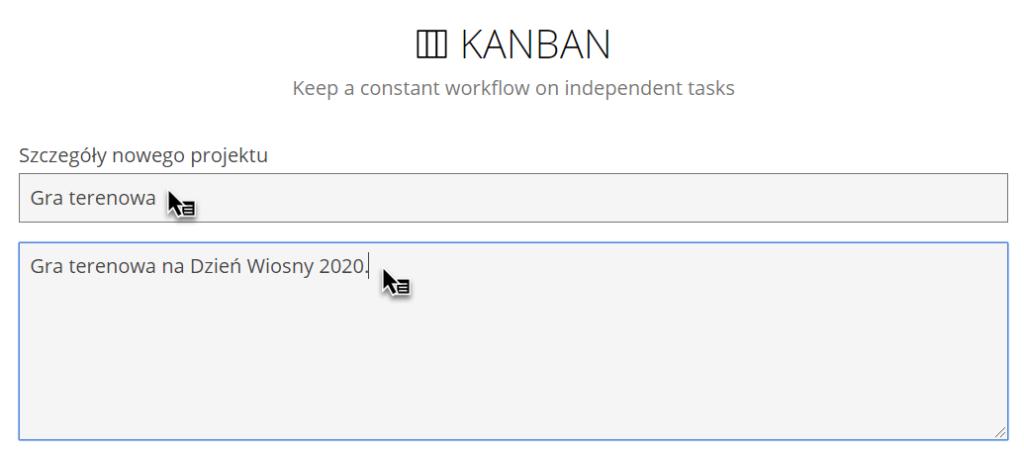 zakładka Kanban z zapisanymi informacjami Gra terenowa i Gra terenowa na Dzień Wiosny 2020