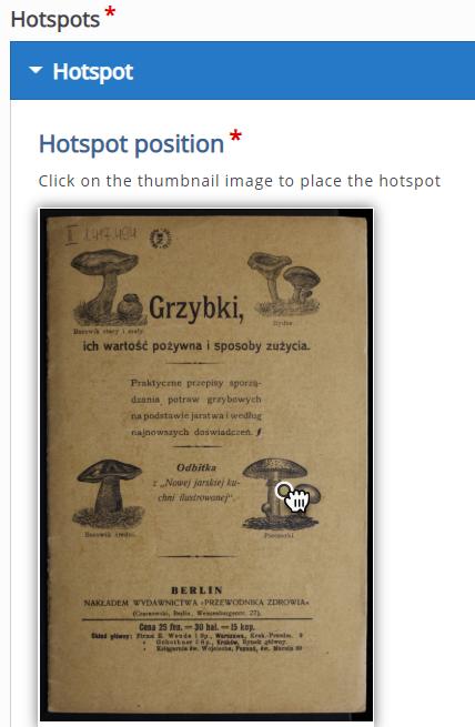 grafika przedstawiająca kartę ze starej książki i miejscem umiejscowienia Hotspota