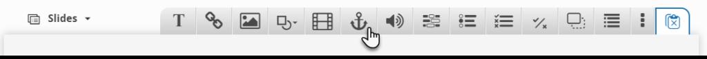 pasek narzędzi ze wskazaną ikoną kotwicy, która pozwala na przejście do kolejnego slajdu