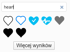 pasek wyszukiwania, w którym wpisano hasło Heart i pod nim pojawiły się propozycje kilku kształtów