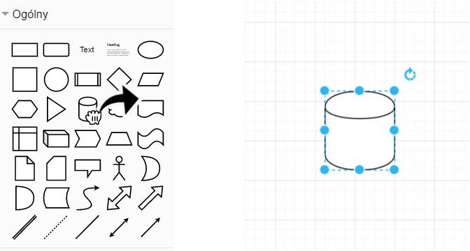 lista obiektów - figur geometrycznych  znajdująca się z lewej strony ekranu, a po prawej stronie pole robocze z przeniesioną figurą