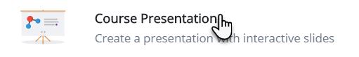 ikona tablicy typu flipchart, a obok niej tekst Course Presentation