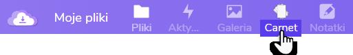 wskazanie ikony zakładki Carnet  w ramach usługi Dysk