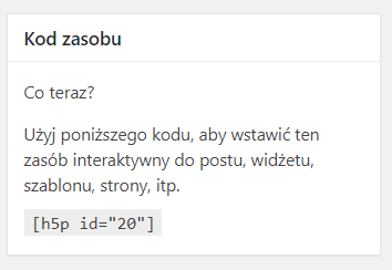 zakładka Kod zasobu i wraz z kodem do przygotowanego materiału