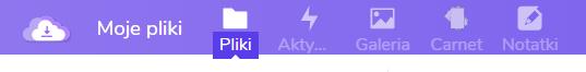 wskazanie ikony zakładki Pliki w ramach usługi Dysk