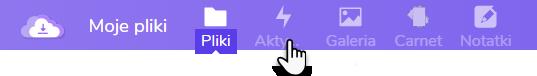 wskazanie ikony Aktywność w ramach usługi Dysk