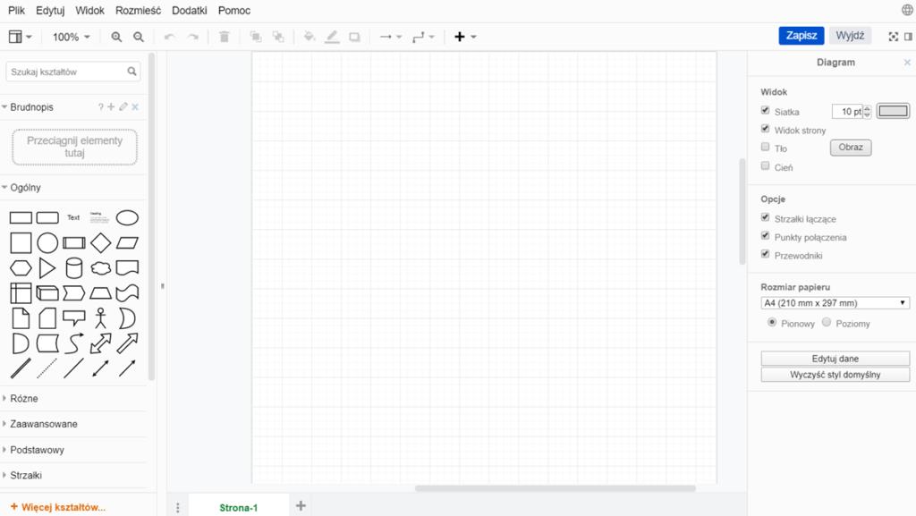 edytor do tworzenia diagramów, gdzie po lewej stronie znajdują się dostępne narzędzie edytorskie, w centralnej części pole robocze, a z prawej strony opcje ustawienia strony