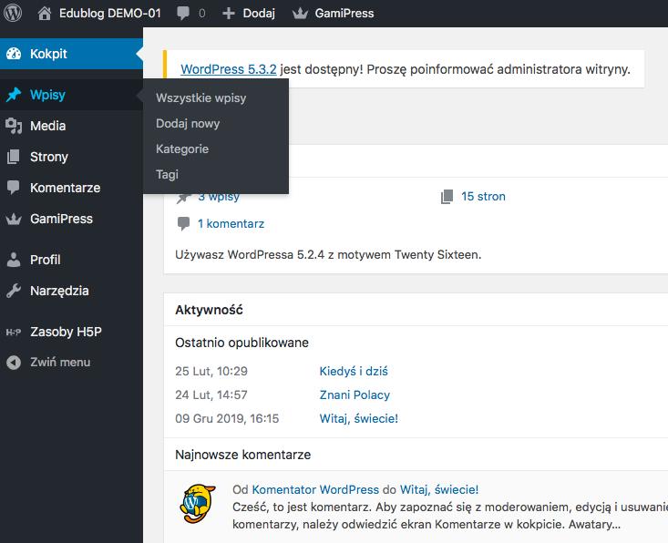 kokpit aplikacji WordPress z zaznaczoną zakładką Wpisy i rozwiniętą listą pozostałych opcji