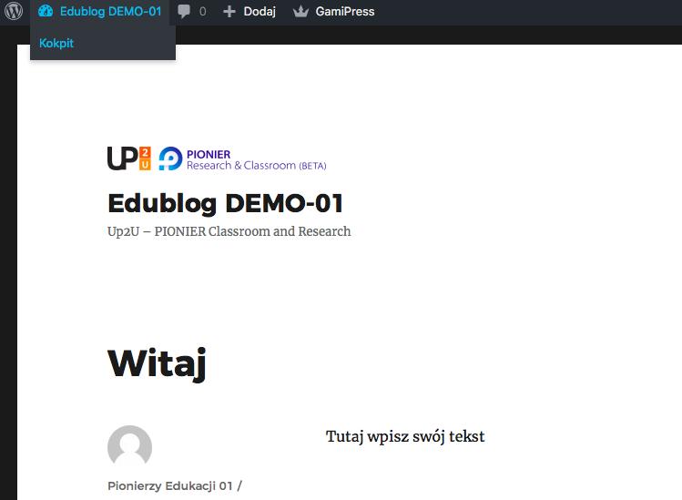 strona główna Edublog z opublikowanym wpisem zatytułowanym Witaj w aplikacji WordPress z widokiem na Kokpit