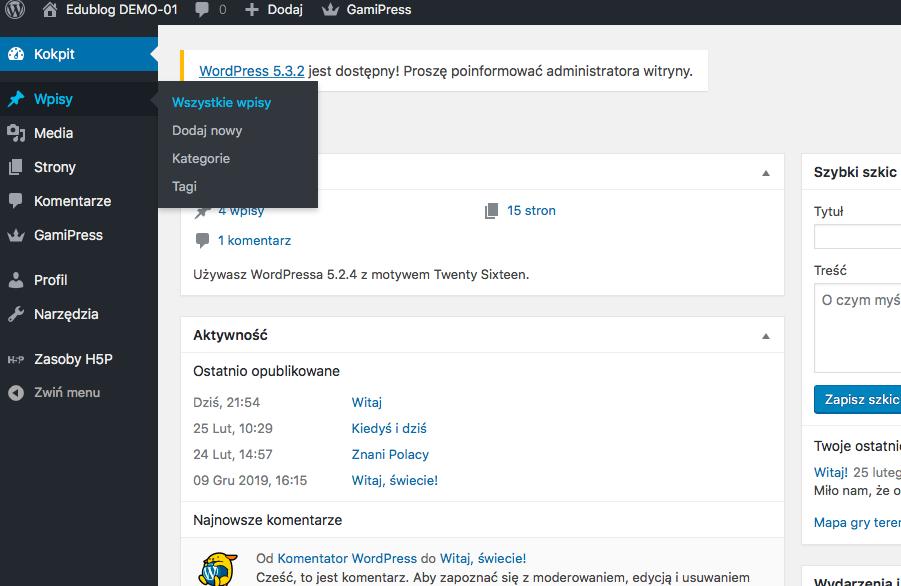 Kokpit w aplikacji WordPress ze wskazaniem zakładki Wpisy
