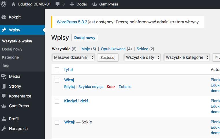 lista dodanych wpisów w WordPress