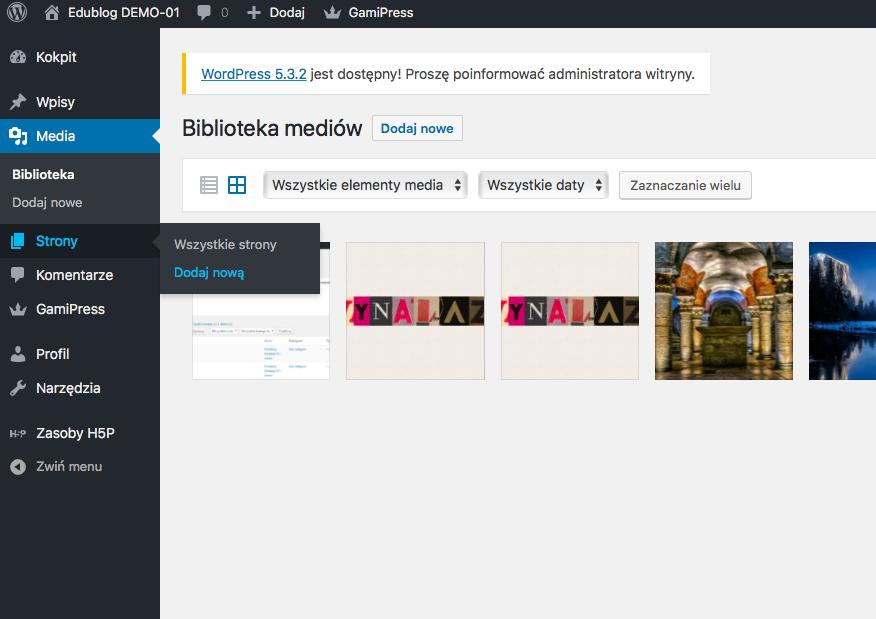 pasek narzędzi aplikacji WordPress ze wskazaniem miejsca dodawania nowych stron