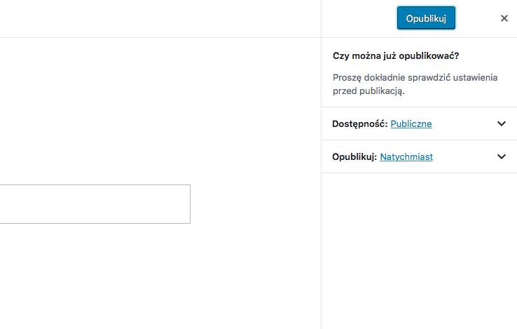przycisk Opublikuj i lista z opcjami Czy można już opublikować, Dostępność, Opublikuj