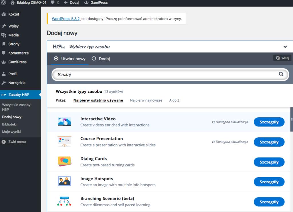 widok paska narzędzi WordPress ze wskazaniem na zakładkę Zasoby H5P i listę kilku zasobów