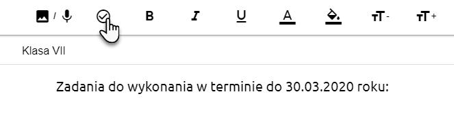 wskazanie ikony pozwalającej na dodawanie listy zadań i pole do wpisywania treści zadania