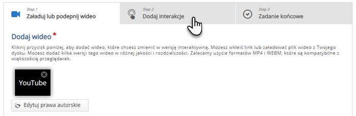 wskazana zakładka Dodaj interakcje