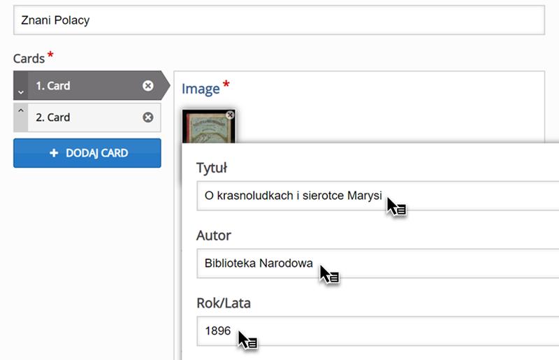edytor do tworzenia materiałów typu Memory Game z zapisanymi informacjami Tytuł, Autor, Rok/Lata