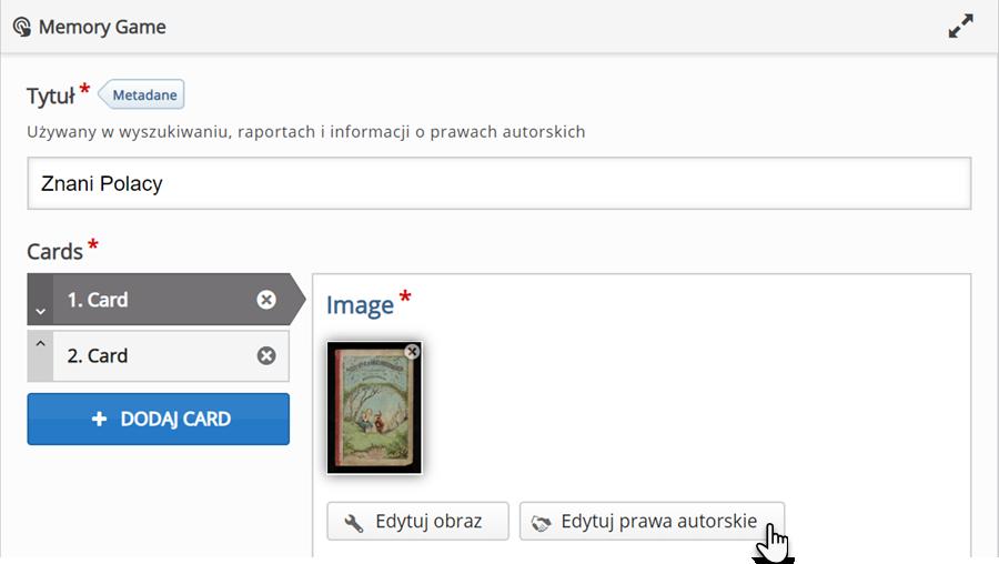 edytor do tworzenia materiałów typu Memory Game z dodaną grafiką na której znajduje się wizerunek dziewczynki i krasnoludka oraz wskazywany jest przycisk Edytuj prawa autorskie