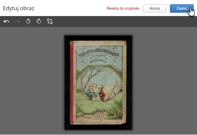 okładka starej książki, na której znajduje się wizerunek dziewczynki i krasnoludka