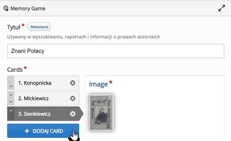 edytor do tworzenia materiałów typu Memory Game ze wskazanym polem Dodaj card i widniejącą obok grafiką prezentującą postać mężczyzny