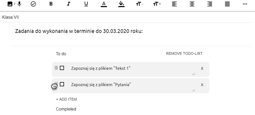 widok edytora tekstowego z zapisanymi zadaniami i ikoną łapki, która pozwala na zmienianie kolejności dodanych wpisów