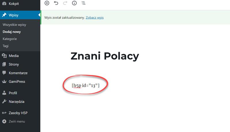 pasek narzędzi aplikacji WordPress z zaznaczoną zakładką Wpisy i znajdujący się z prawej strony ekranu tekst Znani Polacy i kod zasobu