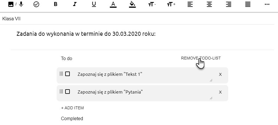 widok edytora tekstowego z zapisanymi zadaniami i wskazanie opcji Remove To Do List, która pozwala usunięcie całej listy zadań