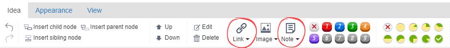 pasek narzędzi ze wskazanymi zakładkami Link i Note