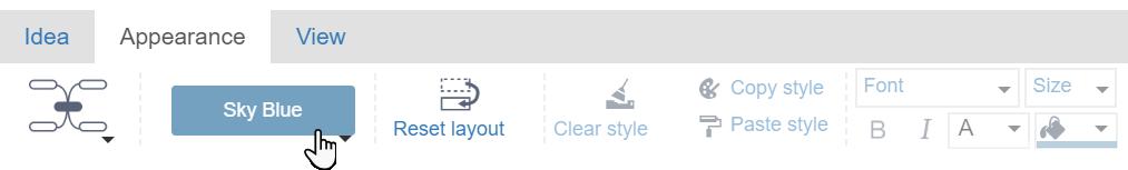 pasek narzędzi ze wskazaną ikoną, która pozwala na zmianę koloru mapy myśli