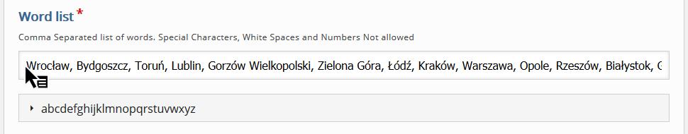 zakładka Word list z paskiem tekstu, gdzie znajdują się nazwy kilku polskich miast