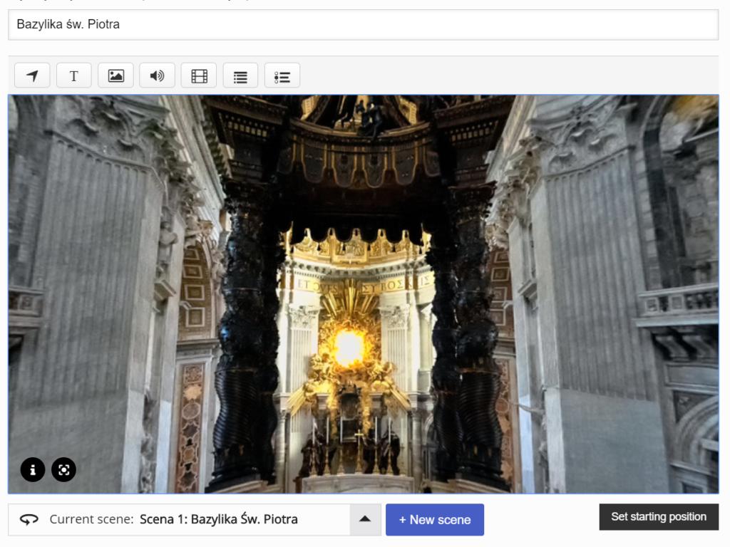 grafika prezentująca fragment wnętrza Bazyliki św. Piotra, a nad nią pasek narzędzi do edycji obrazu