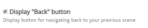 zaznaczona opcja Display Back button