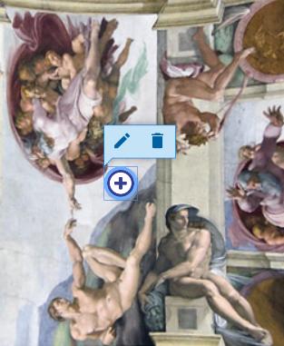fragment fresku Michał Anioła przedstawiający mężczyzn i nałożony na grafikę przycisk interakcji wybrany z paska narzędzi